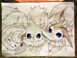 Vaporeon Flareon Jolteon by SparkyPineapple