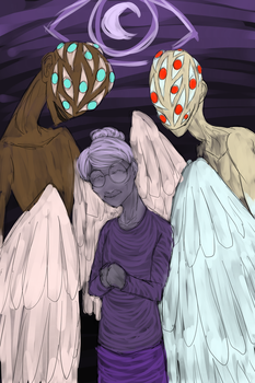 Old Woman Josie and her Angels by RhodArt