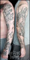 Finished Red Dog Tattoos Sleeves by Reddogtattoo