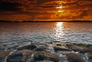 Sunset Elbe Glueckstadt by sandor99