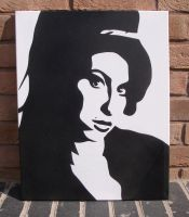 Amy Winehouse-Stencil Canvas by RAMART79