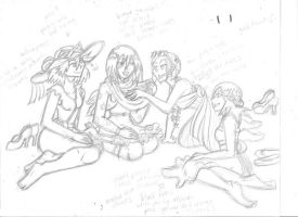 Picnic with the Girls Sketch by SundanceAnn