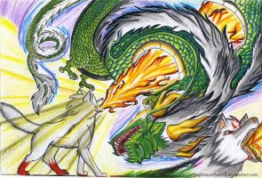 White wolf vs Dragon devil by brightsunthewolf