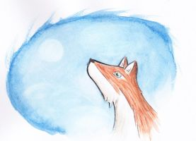 Fox with the morning moon by AnneliLev