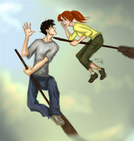 Harry and Ginny flying by Hillary-CW