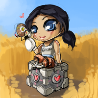 Chell Glados and Cube by Shattered-Earth