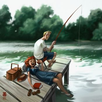 summer fishing by DawnElaineDarkwood