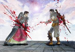 Carver vs. Hawke Dragon age II by GoldKanet