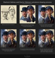 Sherlock Holmes and Doctor Watson Steps. by creaturedesign