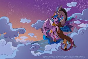 Sunset Dance - Celestia and Discord by RaynesGem