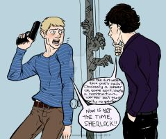 John + Sherlock vs Zombies by jackiemakescomics