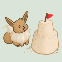 Eevee and the Sandcastle by atomicspacemonkey