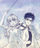 Commission: Shigatsu wa Kimi no Uso by rara-k