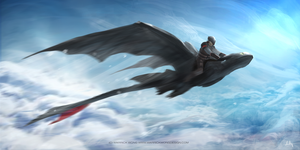Toothless and Hiccup FLY NOW by waLek05