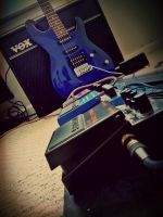 Boss Pedals Blue Ibanez Guitar and Vox VT50 Amp by dhrandy