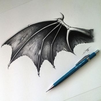Demon/Dragon Wing Drawing by LethalChris
