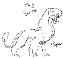 King Simba - free lineart by TigaLioness