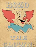 vintage looking bozo poster by desithen