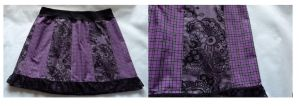 Aline panel skirt tartan pattern purple lace by SewObession