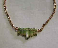 Watermelon Tourmaline Crystal and Copper Necklace by mymysticgems