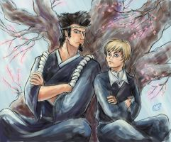 Bleach: Sentaro and Kiyone. Spring by SepiaCoerulea
