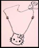 evil kitty necklace by love-on-a-stick
