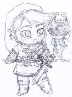 Chibi Link and Midna by KeyshaKitty