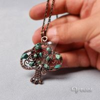 Tree of life pendant with turquoise chips by artual