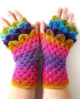 Burst - Dragon gloves by FearlessFibreArts