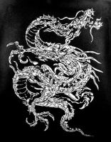 Chinese dragon linocut by Sefi