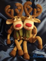 Deer Rudolf with a brother by Mirettetoys