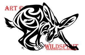 Tribal Hare Tattoo Design by WildSpiritWolf