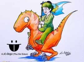 Nanda Bayin rides the orange raptor dinosaur by sw-eden