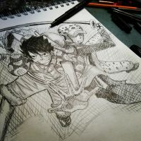One Piece Cover of Luffy and Law Sketch  by RinALaw