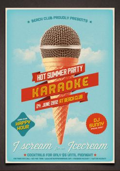 Vintage Karaoke Poster PSD Template by moodboy
