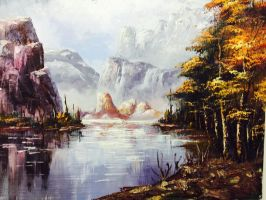 Mountain and trees painting by gillen29