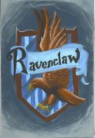 Ravenclaw crest in paint by Llewenayah