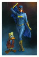 Batgirl with Howard the Duck by charles-hall