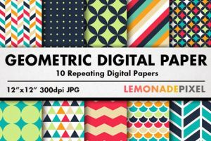 Geometric Patterns Digital Paper by graphicstrilogy
