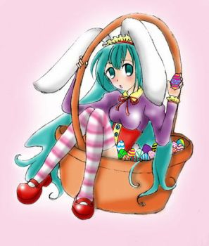 Easter Bunny Girl in a Basket by IRTeA