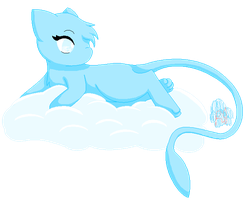 Shiny Mew on a Cloud by rebeccathejolteon