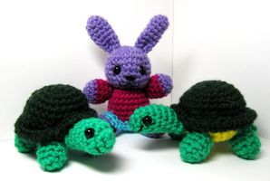 Two turtles and a bunny by Sparrow-dream