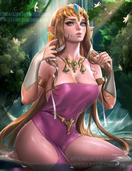 Waterfall Break Zelda .NSFW optional. by sakimichan