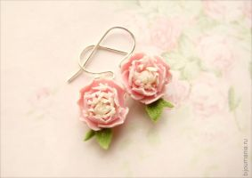 Earrings Pink Peonies 2 by allim-lip