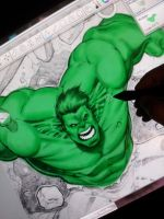 wacom cintiq 24HD sketchbook pro HULK by Sajad126