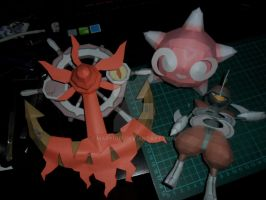 Dhelmise, Minior and Bisharp papercrafts