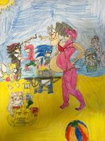 sonic amy and the friends on the beach by SHADOWLOUIX