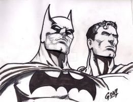 Sketch in proccess batman and superman by pollomaxx