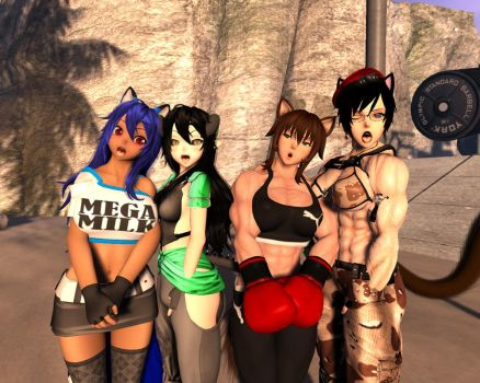 Silly group picture with friends! hehehe by Muscle-girl-Sakura