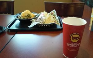 Moes with chips and Salad by iza200117